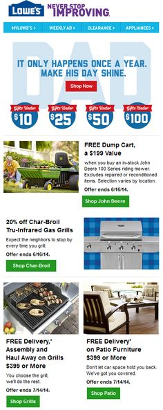 Sent: 6/13/14 SL:'Where Else Would You Shop for Dad?' A 100% Father's Day focused email from Lowe's. Includes Shop by Price and some clever CTA's