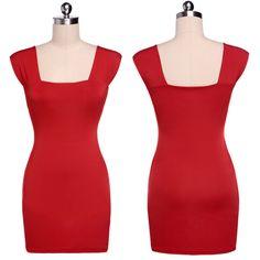 Дешевое Мода женщины совок шеи платье без рукавов Bodycon вечер клубная одежда мини платье красный оптовая продажа бесплатная доставка, Купить Качество Платья непосредственно из китайских фирмах-поставщиках:   Дизайн моды, 100% новое и высокое качество! Материал: хлопок Цвет: красный Стиль: Сексуальная клуб вечернее платье Пов