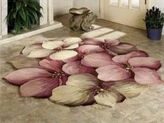 Cecily Floral Rug has lovely eggplant, heather rose, and taupe clematis style petals on cocoa . Floral Painted Furniture, My Furniture, Hallway Carpet Runners, Floral Chair, Floral Rug, Diy Carpet, Rugs On Carpet, Bohemian House, Doilies