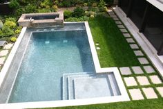 Would want steps set back from rectangular area, so entire lap pool would be open for swimming.