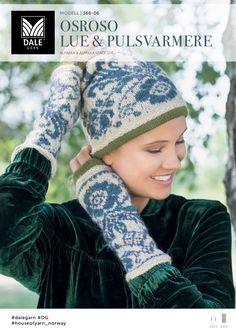 Ravelry: Osroso lue & pulsvarmere pattern by Iselin Hafseld Knit Mittens, Knitted Gloves, Crochet Wool, Crochet Hats, Fair Isles, Wrist Warmers, Fair Isle Knitting, Free Pattern, Knitting Patterns