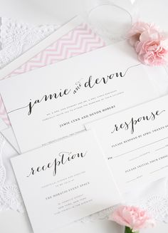 Wedding Invitations with Unique Script Names and a Pink Envelope Liner