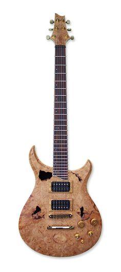 King Blossom Guitars custom Bigleaf Maple burl chambered electric