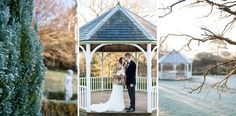 Bride & groom kissing in the gazebo. Vintage look faux fur coat and black tie. Cold and crisp Winter wedding at Rowhill Grange Hotel - photography by Fiona Kelly