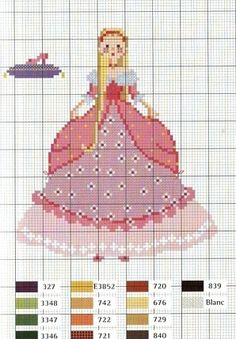 0 point de croix princesse rose - cross stitch pink princess