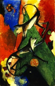 Two Monkeys - Franz Marc - The Athenaeum Franz Marc, Wassily Kandinsky, Cavalier Bleu, Les Religions, Blue Rider, Georges Braque, Marc Chagall, Painting People, Animal Paintings