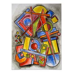 Circles And Squares - Abstract Art Poster #circles #squares #art #abstract #zazzle