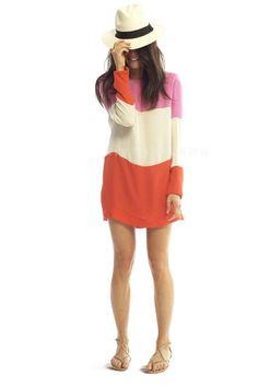 Chiffon Contrast Spicing O-neck Long Sleeve Short Dress
