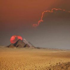 Sunset behind the Pyramids in Egypt