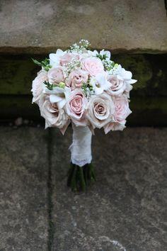 nude pink wedding bouquet.   COLORS FLOWERS: IVORY, SAHARA BEIGE, LIGHT PINK, DUSTY ROSE, dusty miller silver, greenery