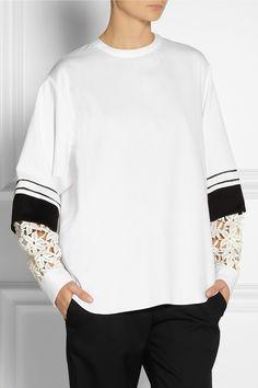 Chloé|Guipure lace-sleeve cotton-drill top|NET-A-PORTER.COM