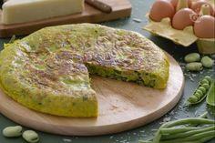 Frittata med bondbönor, ärtor och haricot verts #Recept #Italienskt