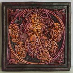 Goddess Durga Slaying Mahishasura - Wall Hanging (Terracotta))