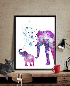 Elephant Print Elephant Watercolor Wall Art by FineArtCenter