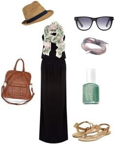How to wear a black maxi dress with a green and white printed scarf, fedora hat, sunglasses, brown tote bag and sandals