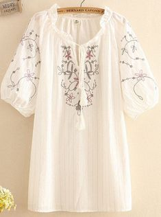 ZHI Boho Embroidery Short Sleeeve Drawstring Blouses look not only special, but also they always show ladies' glamour perfectly and bring surprise. Come to NewChic to choose the best one for yourself! Casual Tops For Women, Blouses For Women, T Shirts For Women, Half Sleeves, Chic Outfits, Nice Tops, Shirt Blouses, Shirt Style, Embroidery