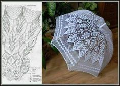 Parasol - or how to connect by a hook an umbrella Filet Crochet, Freeform Crochet, Crochet Diagram, Crochet Chart, Thread Crochet, Irish Crochet, Crochet Doilies, Crochet Lace, Crochet Stitches
