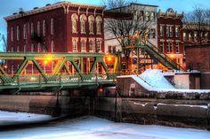 Brockport at Main Street Liftbridge on the Frozen Erie Canal