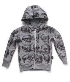 * Last size * Nununu MD Skull Zip Hoodie. This unisex grey skull hoodie is made from cotton and polyester. Comfy and totally cool, this hoodie would looking awesome with a pair of I Dig Denim jeans or Nununu baggy pants. Skull Hoodie, Zip Hoodie, Pullover, Cool Boys Clothes, Kid Styles, Boy Outfits, Heather Grey, Kids Fashion, Baby Boy