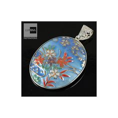 3C Studio Asian Art Sterling Silver and Porcelain Pendant - Oval Blue – Lumina Inspirations
