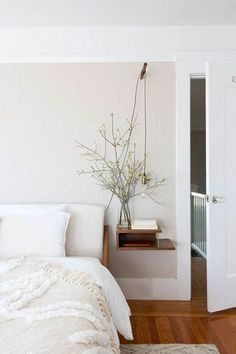 soft and inviting, minimal bedroom, neutral tones, floating side table, naked bu. Neutral Bedroom Decor, Boho Chic Bedroom, Quirky Bedroom, Bedroom Rustic, Trendy Bedroom, Sweet Home, Home Bedroom, Bedroom Ideas, Bedrooms