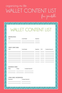 Free Printable Wallet Content List to help with organizing. www.jessikareed.com
