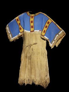 Northern Arapaho two-hide pattern dress with fully beaded yoke, ca 1900.  Wyoming.