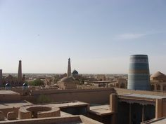 Itchan Kala, in Uzbekistan, is the inner town (protected by brick walls some 10 m high) of the old Khiva oasis, which was the last resting-place of caravans before crossing the desert to Iran. Although few very old monuments still remain, it is a coherent and well-preserved example of the Muslim architecture of Central Asia