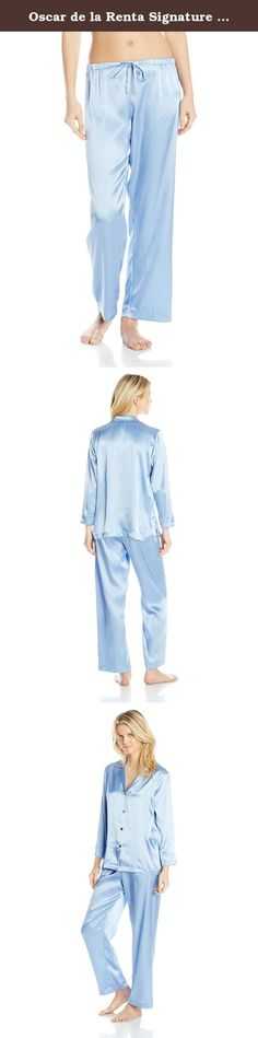 Oscar de la Renta Signature Women's Solid Charmeuse Pajama, Blue, Small. An elegant mix of lace and sophistication, our solid car me use pajama is irresistible in every way.