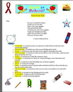 Make your own Back to School Survival Kit for students using this FREE printable! #education #teachingisagift