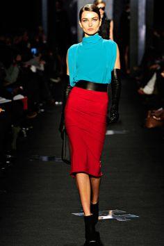 Dian von Furstenberg. Love the aqua & Red