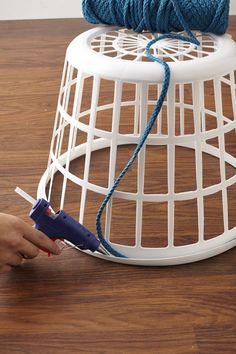 Turn That Ugly Af Laundry Basket Into Pr - Diy Crafts - moonfer Rope Crafts, Diy Crafts Hacks, Diy Home Crafts, Diy Crafts To Sell, Diy Home Decor, Thrifty Decor, Laundry Basket Storage, Diy Storage Boxes, Storage Baskets