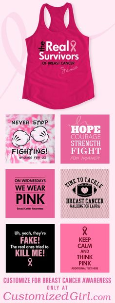 Create your own custom Breast Cancer t-shirts at Customized Girl. Add your own text and breast cancer themed art, like pink ribbons and pink boxing gloves. Breast Cancer Party, Breast Cancer Crafts, Breast Cancer Shirts, Breast Cancer Walk, Breast Cancer Support, Breast Cancer Survivor, Breast Cancer Awareness, Cancer Free Party, Cancer Quotes