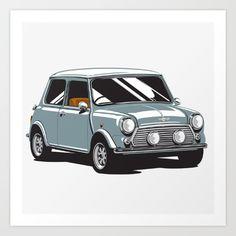 Mini Cooper Car - Gray Art Print