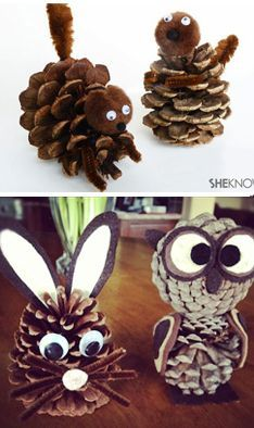 : pomme-pin-et cure-pipe Plus - Fall Crafts For Toddlers Pinecone Crafts Kids, Acorn Crafts, Pine Cone Crafts, Holiday Crafts, Christmas Crafts, Christmas Decorations, Fall Crafts For Toddlers, Autumn Activities For Kids, Diy For Kids