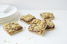 Healthy date squares with a crunchy oat and flax crust and a gooey sugar-free date filling made with no dairy, eggs, or nuts!