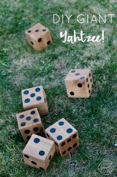 5 DIY Yard Games, Hours of Fun (Jenga/Dominoes/Yahtzee) – Lemon Thistle - Lawn Games Diy Yard Games, Lawn Games, Diy Games, Backyard Games, Garden Games, Backyard Ideas, Garden Ideas, Outdoor Wedding Games, Outdoor Games