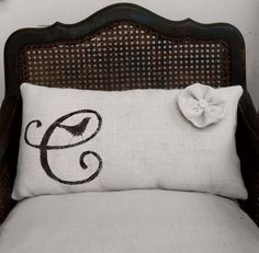 Monogrammed Burlap Pillow by nextdoortoheaven on Etsy