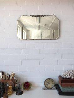 Vintage Bevelled Edge Wall Mirror Original Art Deco Bevel Edge Chrome Detailing on Etsy, $215.96