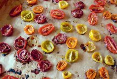 Little tomato-y jewels. I would wear them as a necklace if I had a formidable décolletage. Oven-Roasted Tomatoes