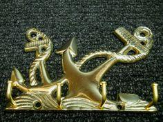 $16.95 Nautical Maritime Decor Brass Ships Anchor Wall Mount Key Hanger W/ 4 Hooks New #nauticalroom #nauticaldecor
