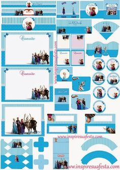 Cute Frozen Party Free Printable Kit.