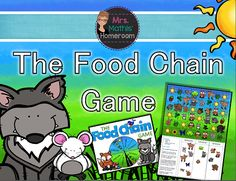 The Food Chain Game - Three in a Row Food Chain Game, Cheap Printing, Paper Clip, My Teacher, Fun Games, Board Games, Knowledge, Student, Black And White