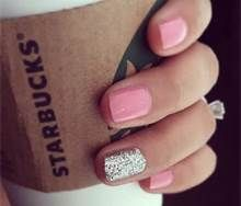 glitter nails - love the pale pink with silver accent