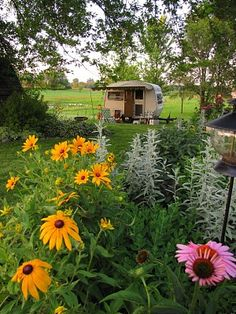 How cute is this? When not out glamping you can use your trailer as a garden getaway!  Nice!