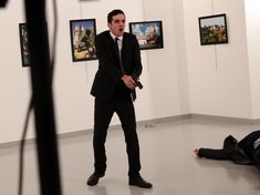"""The Russian ambassador to Ankara was shot dead in a brazen attack by a Turkish policeman in a cultural centre on Monday in what both sides branded an """"act of terror. Ankara, Turkey Art, World Press, Shiga, 2017 Photos, Press Photo, Photojournalism, Art Gallery, Culture"""