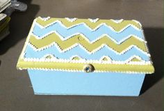 Upcycled old wooden box painted with Chevron design in antique blue and avocado added sequin, and antique button and opens to mirror jewelry box.  Ready for my booth J-3 KK's Corner Mall in Lubbock