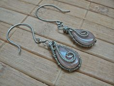 Tybetański Mnich: Beżowe silver, earrings, wire wrapping, handmade, beige, jewelry,