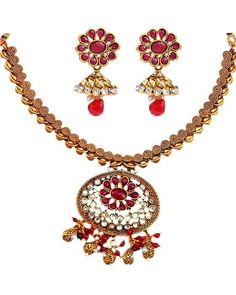 Maayra Enchanting Red n Gold Necklace Set! #ethnicset