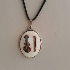 Cross stitch Necklace Violin Cross stitch Necklace Cross
